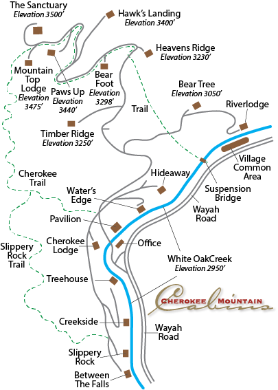 map of property with cabins, creek and trails